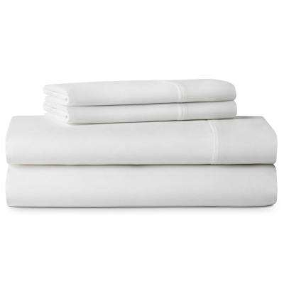 4-Piece Brushed Microfiber White Queen Size Sheet Set