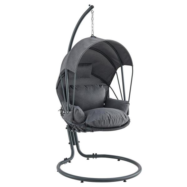 Mid Century Rattan Chair, Barton Gray Patio Hanging Egg Swing Chair With Uv Resistant Polyester Fabric Canopy Cover And Powder Coated Steel Frame Stand 93910 The Home Depot