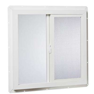 23.5 in. x 23.5 in. 10001 Left-Hand Utility Single Glass Sliding Vinyl Window - White