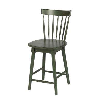 Elise 24 in. Green Counter Height Swivel Bar Stool (Individual)