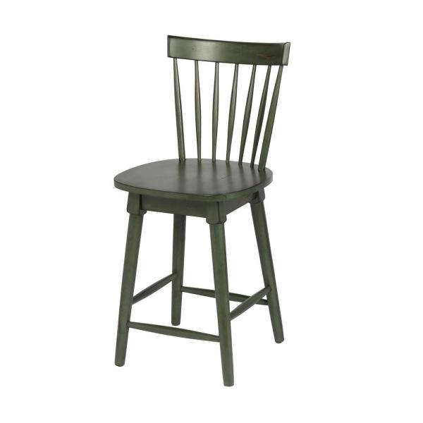 Craft + Main Elise 24 in. Green Counter Height Swivel Bar Stool (Individual)