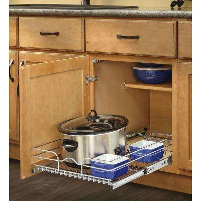 7 in. H x 11.375 in. W x 20 in. D Base Cabinet Pull-Out Chrome Wire Basket