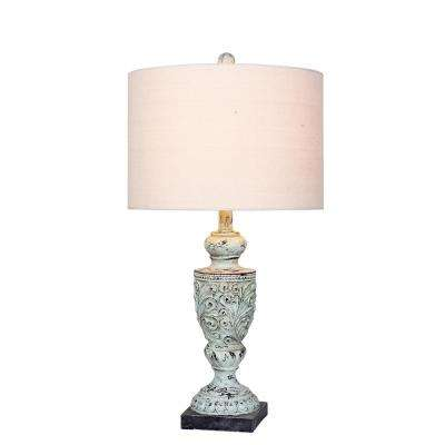 26.5 in. Antique Blue Decorative Urn Resin Table Lamp