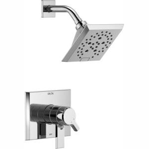 Pivotal 1-Handle Wall-Mount Shower Trim Kit with H2Okinetic Technology in Chrome (Valve Not Included)