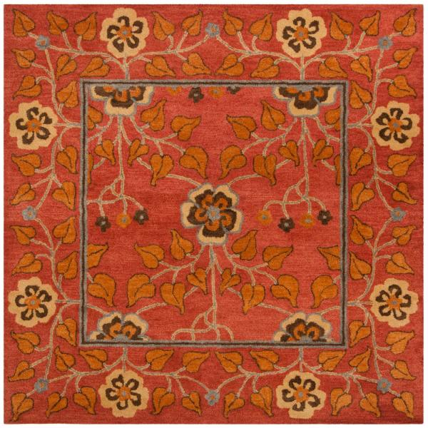 Safavieh Heritage Red Multi 8 Ft X 8 Ft Square Area Rug Hg407a 8sq The Home Depot