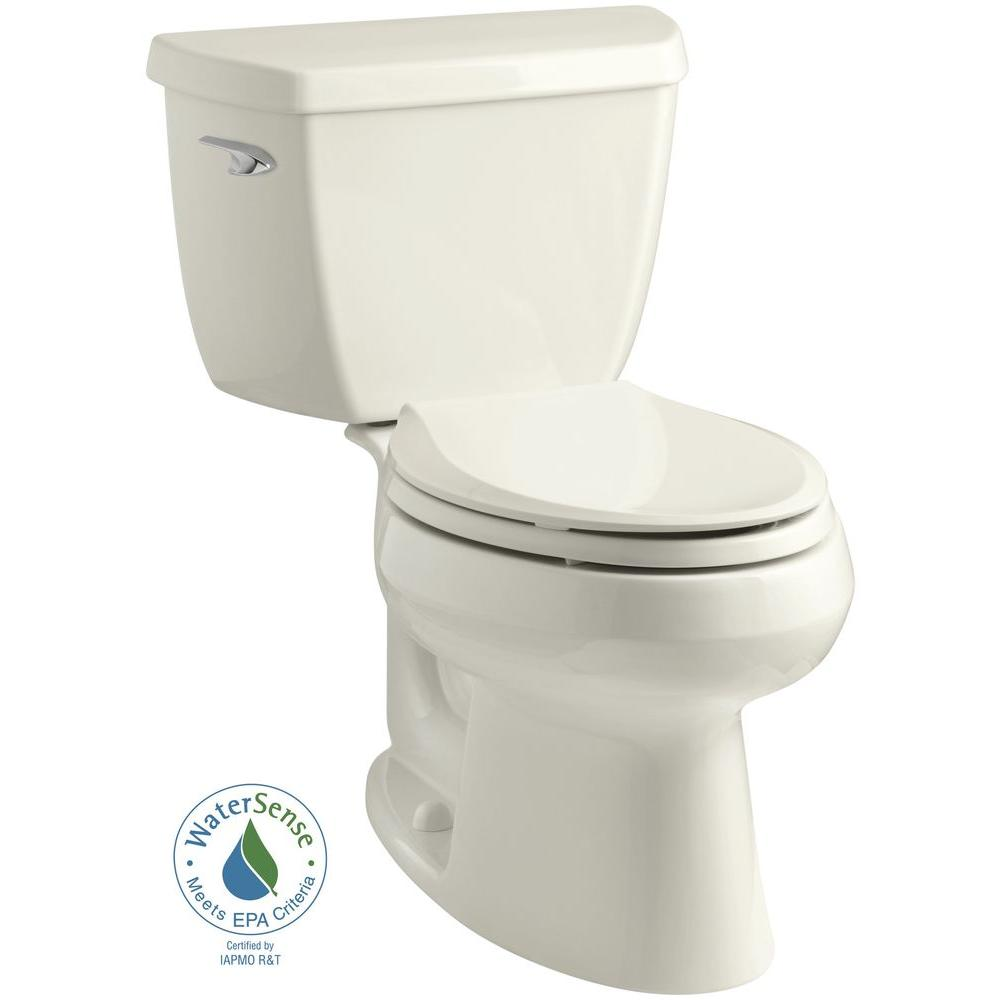 KOHLER Wellworth Classic 2-piece 1.28 GPF Single Flush Elongated Toilet in Biscuit