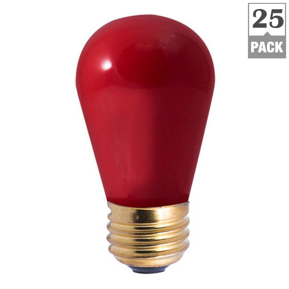 11-Watt S14 Ceramic Red Dimmable Incandescent Light Bulb (25-Pack)