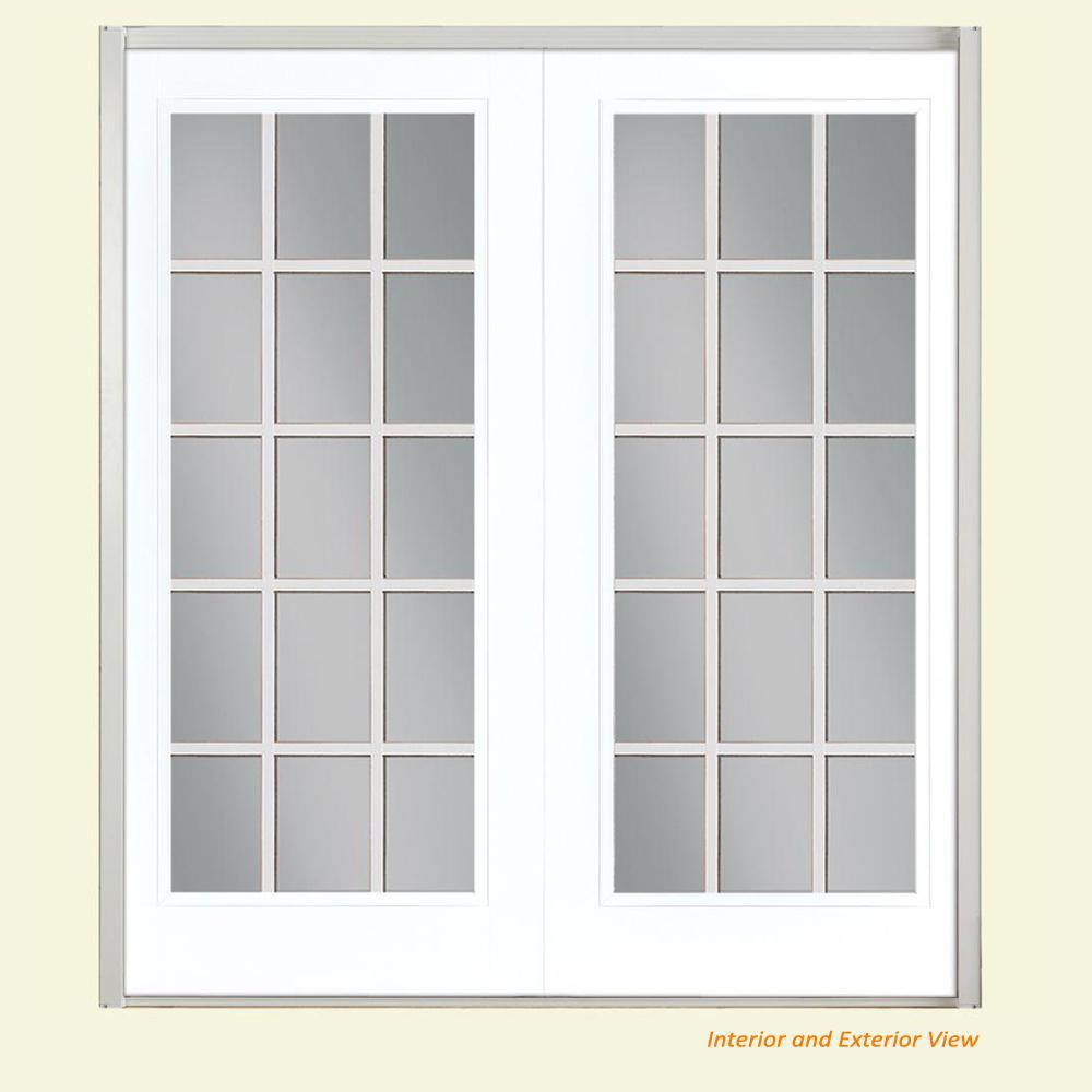 Masonite 72 In X 80 In Ultra White Fiberglass Prehung Left Hand Inswing Gbg 15 Lite Clear Glass Patio Door In Vinyl Frame