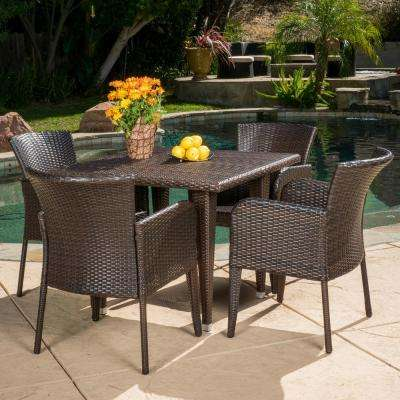 Faye Multi-Brown 5-Piece Wicker Square Outdoor Dining Set