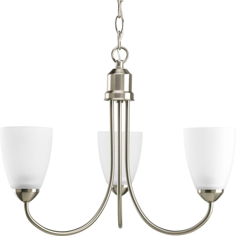 Gather 3-Light Brushed Nickel Chandelier with Etched Glass Shade