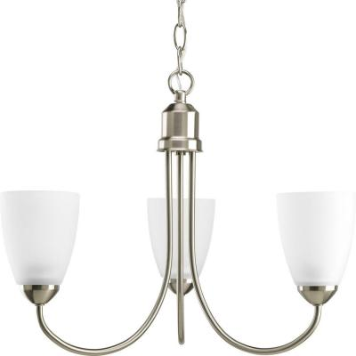 GatherCollection18.5 in. 3-Light Brushed Nickel Chandelier with Etched Glass Shade