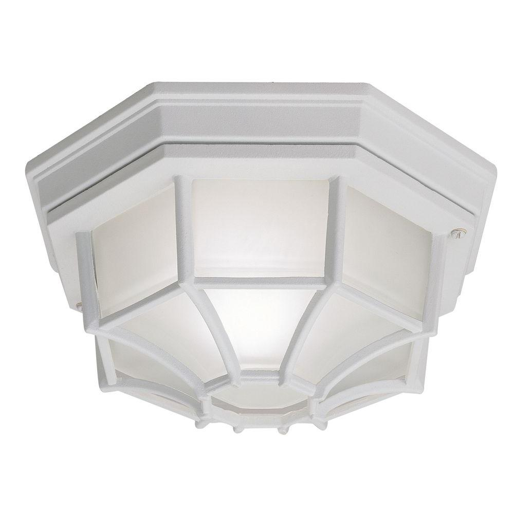 Outdoor ceiling lighting outdoor lighting the home depot white 1 light outdoor flushmount workwithnaturefo