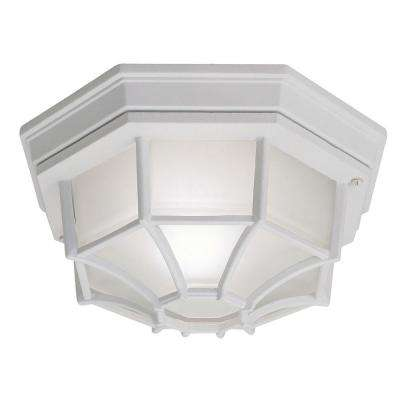 White 1-Light Outdoor Flushmount