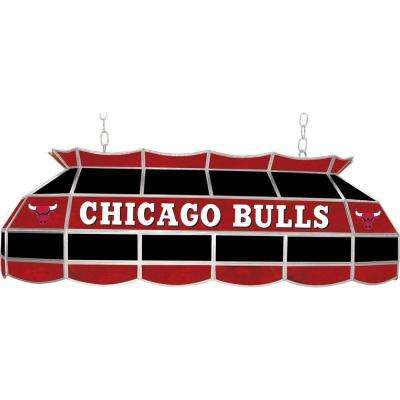 NBA Chicago Bulls NBA 3-Light Stained Glass Hanging Tiffany Lamp