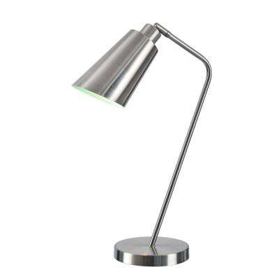 Lynn 22 in. Brushed Steel Desk Lamp with Metal Shade
