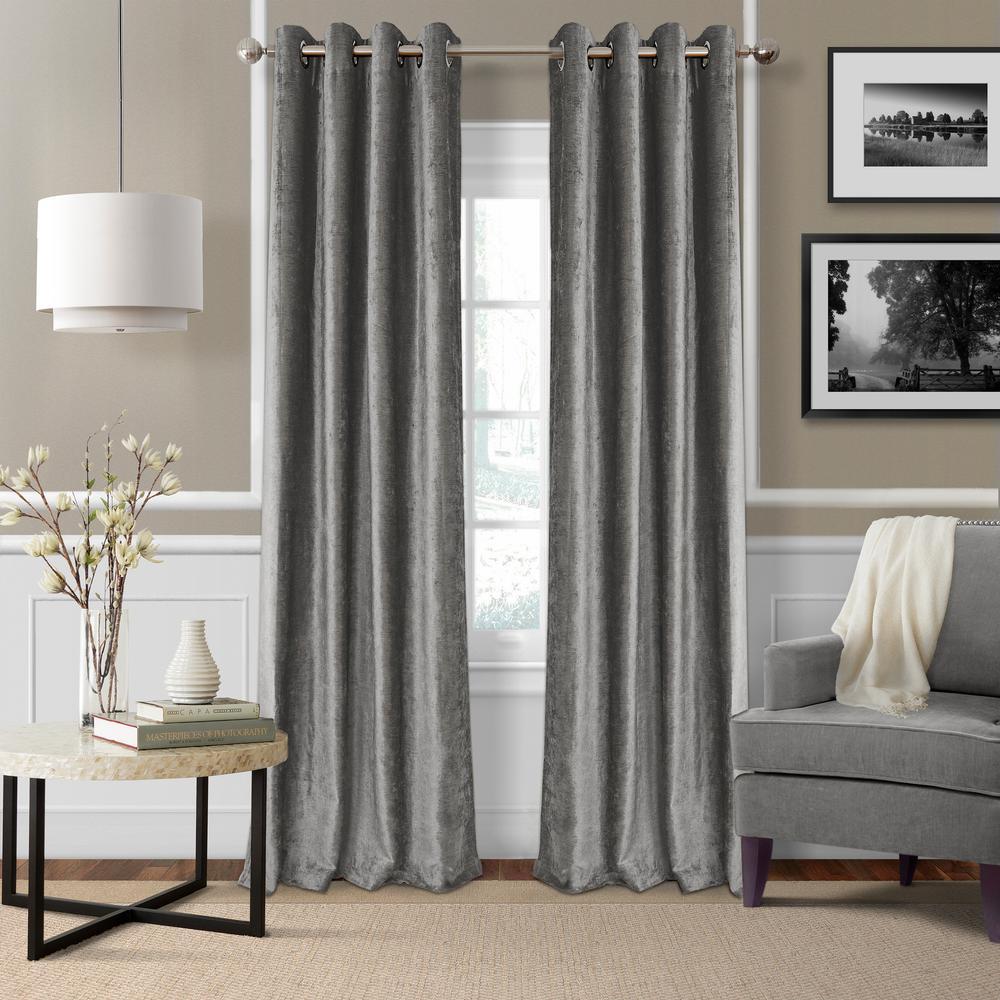 Blackout Victoria Silver Blackout Grommet Window Curtain Panel - 52 in. W x 95 in. L