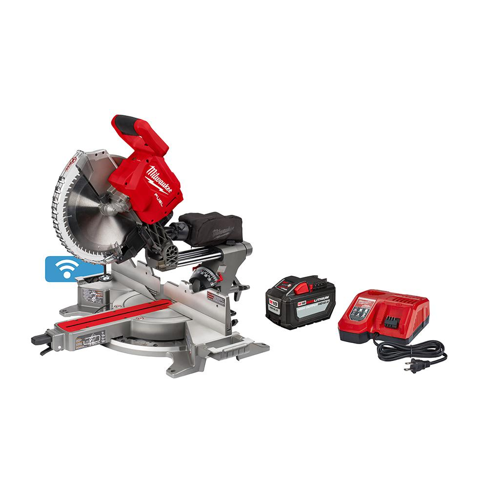 Milwaukee M18 FUEL 18-Volt Lithium-Ion Brushless Cordless 12 in. Dual Bevel Sliding Compound Miter Saw Kit with One 12.0Ah Battery