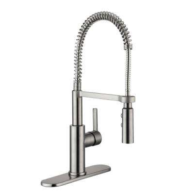 Statham Single-Handle Coil Spring Neck Pull Down Sprayer Kitchen Faucet with TurboSpray and FastMount in Stainless Steel