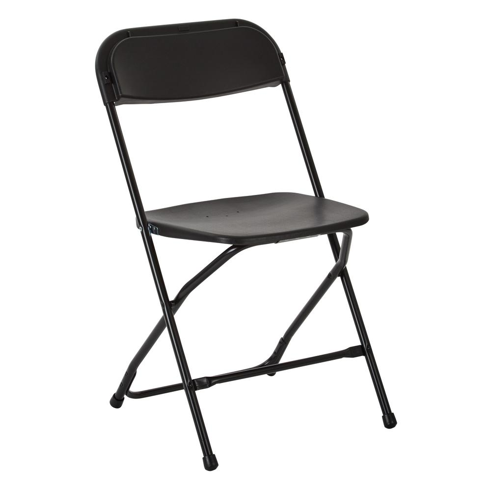 Office Star Products Black Plastic Seat Outdoor Safe Folding Chair (Set of10)