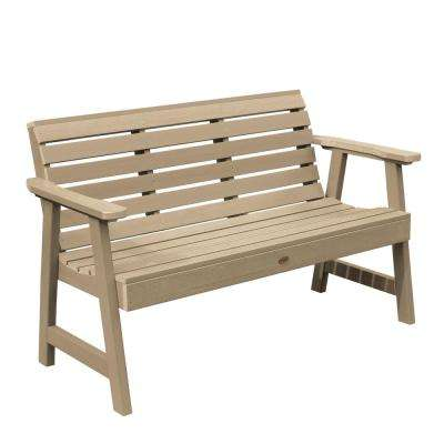 Weatherly 48 in. 2-Person Tuscan Taupe Recycled Plastic Outdoor Garden Bench