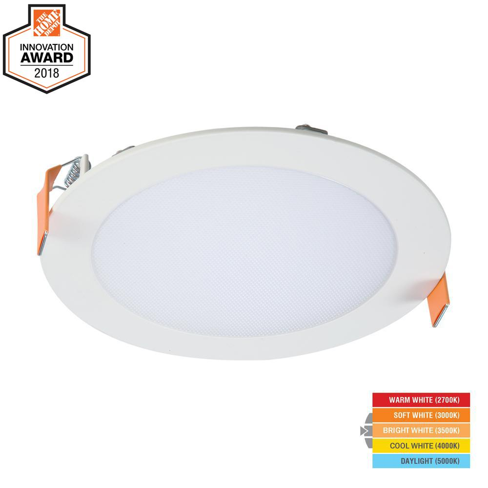 Halo Hlb 6 In White Round Integrated Led Recessed Light Direct Wiring Mount Kit With Selectable Cct 2700k 5000k No Can Needed Hlb6099fs1emwr The Home Depot