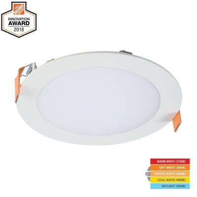 HLB 6 in. White Round Integrated LED Recessed Light Direct Mount Kit with Selectable CCT (2700K-5000K), (No Can Needed)