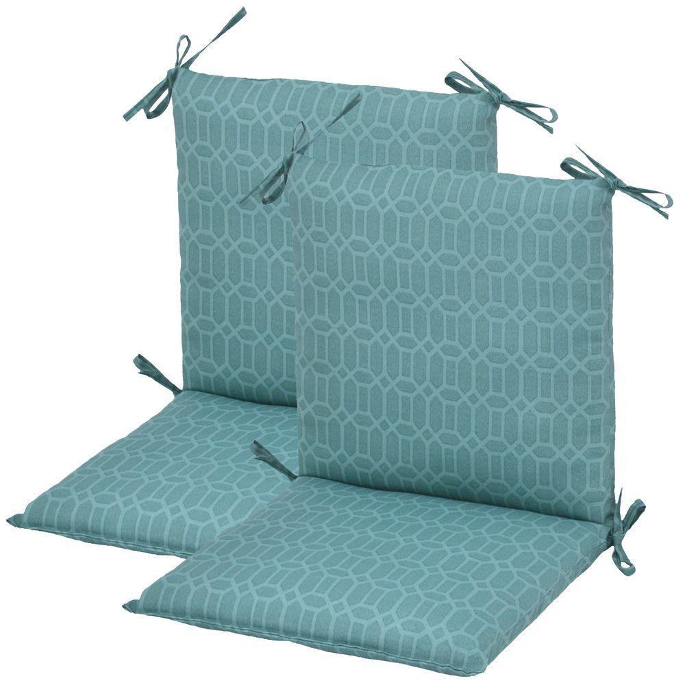 Hampton Bay Rhodes Trellis Mid Back Outdoor Chair Cushion (2-Pack)-DISCONTINUED