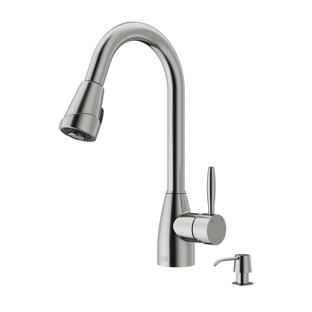 pull stainless kitchen lincroft collection with down faucets in faucet steel deck vigo plate wht