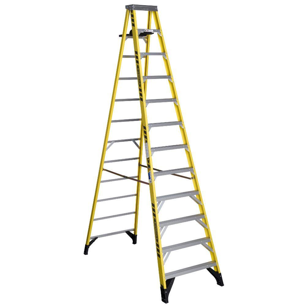 Werner 12 Ft Fiberglass Step Ladder With Shelf 375 Lb Load Capacity Type Iaa Duty Rating 7312s The Home Depot
