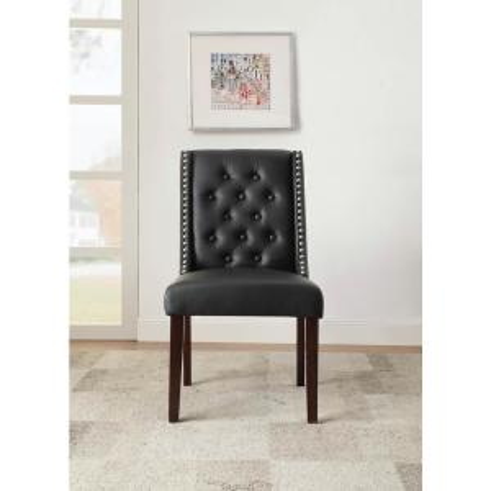 Swell Acme Furniture Brenda Black Leatherette And Walnut Side Theyellowbook Wood Chair Design Ideas Theyellowbookinfo