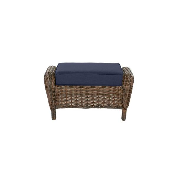Cambridge Brown Wicker Outdoor Patio Ottoman with Standard Midnight Navy Blue Cushions