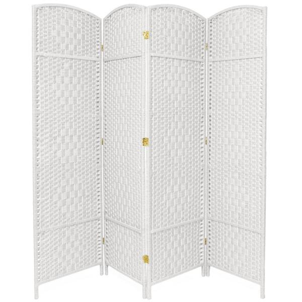 Natural Wood /& White Fabric 4 Panel Partition Screen Freestanding Room Divider