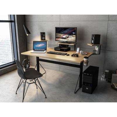 Carnegie Black/Natural Computer Gaming Desk XL