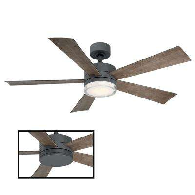 Wynd 52 in. LED Indoor/Outdoor Graphite 5-Blade Smart Ceiling Fan with 3000K Light Kit and Wall Control