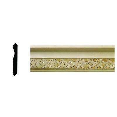 1/2 in. x 3-21/32 in. x 96 in. Hardwood White Unfinished Cracked Ice Crown Moulding