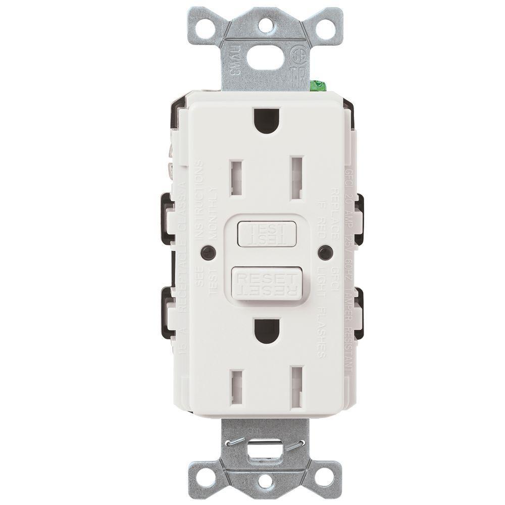 Lutron 15 Amp Tamper Resistant Gfci Duplex Receptacle In White Car