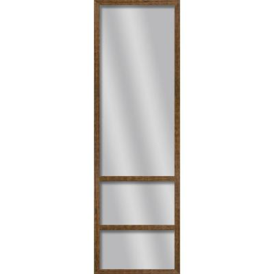 Large Rectangle Natural Wood Art Deco Mirror (49.75 in. H x 13.73 in. W)