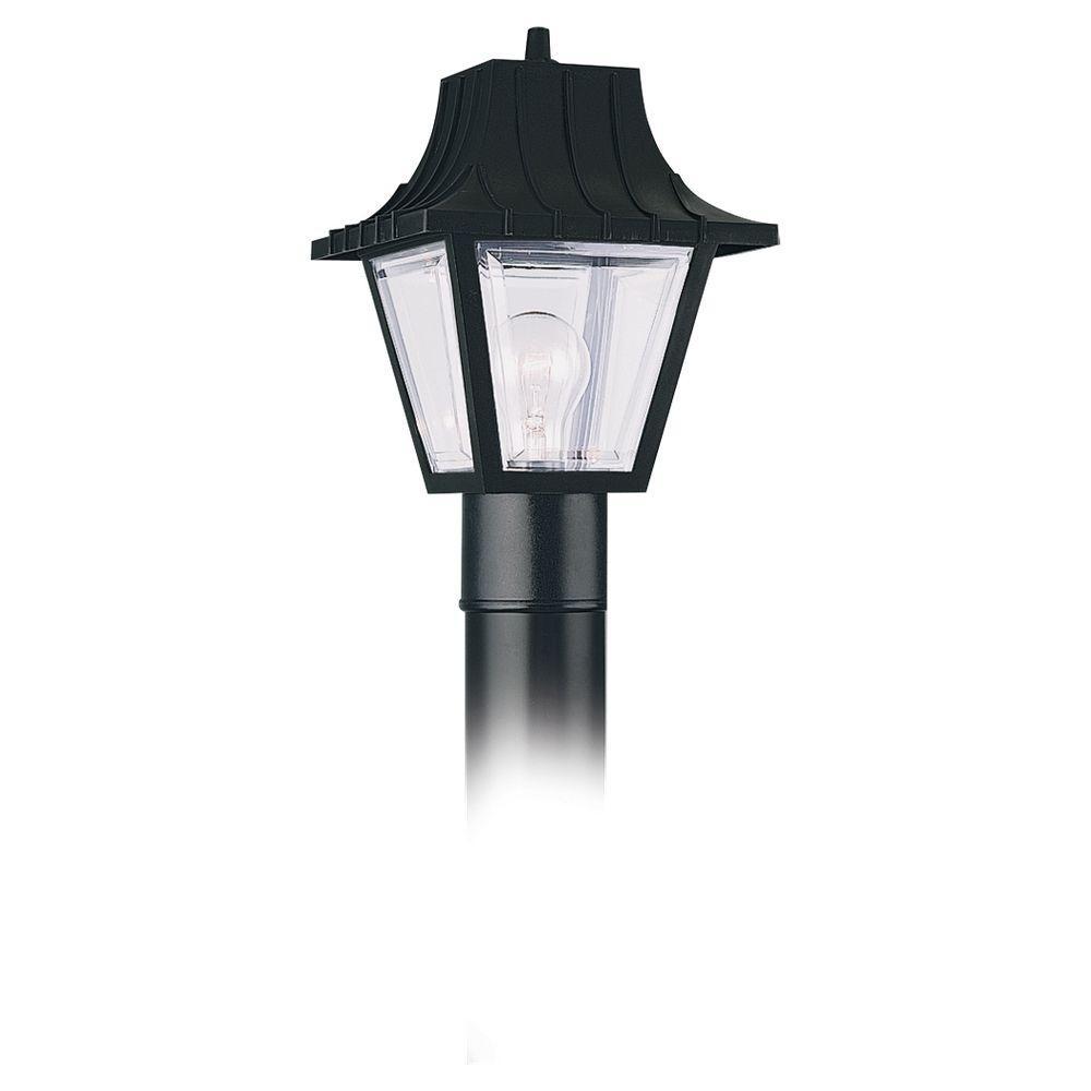 Sea Gull Lighting 1-Light Clear Black Outdoor Post Top