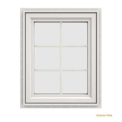 23.5 in. x 29.5 in. V-4500 Series White Vinyl Left-Handed Casement Window with Colonial Grids/Grilles