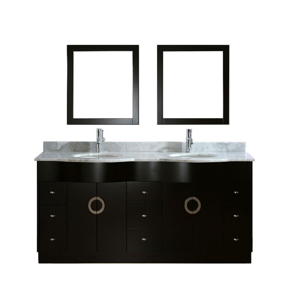Studio Bathe Zoe 72 in. Vanity in Espresso with Marble Vanity Top in Carrara White and Mirror