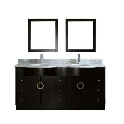 Zoe 72 in. Vanity in Espresso with Marble Vanity Top in Carrara White and Mirror