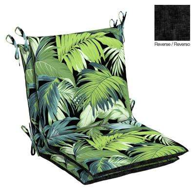 Black Tropicalia Outdoor Dining Chair Cushion (2-Pack)