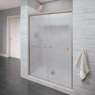 Infinity 58-1/2 in. x 70 in. Semi-Frameless Sliding Shower Door in Brushed Nickel with Obscure Glass