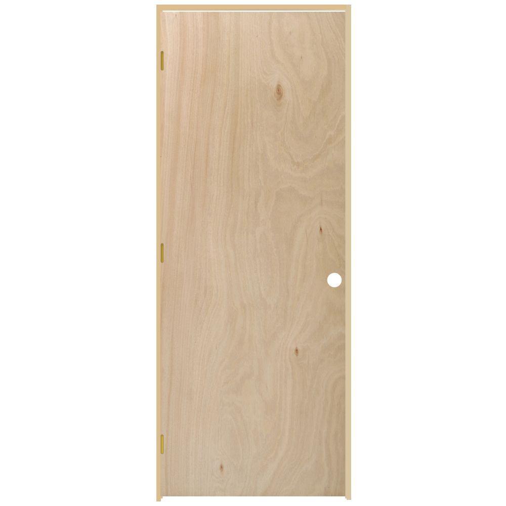 Flush Hollow Core Unfinished Hardwood Single Prehung Interior Door