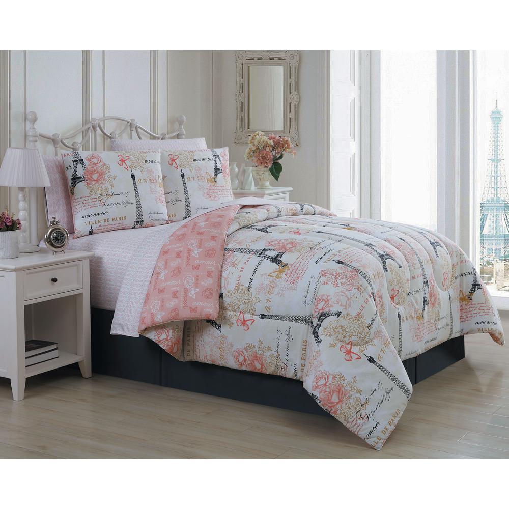 Amour 8 Piece Pink Queen Comforter Set, Queen Bed Comforters