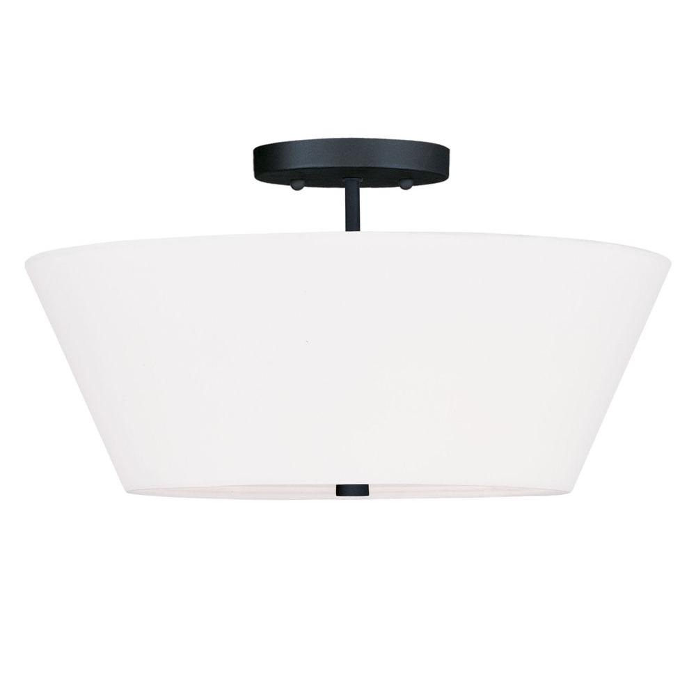 Livex Lighting Providence 3-Light Ceiling Black Incandescent Semi-Flush Mount