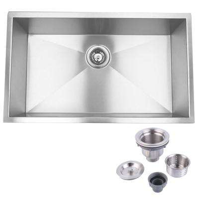 32 in. and 19 in. 0 hole Undermount Stainless Steel Single bowl Kitchen Sink with Strainer