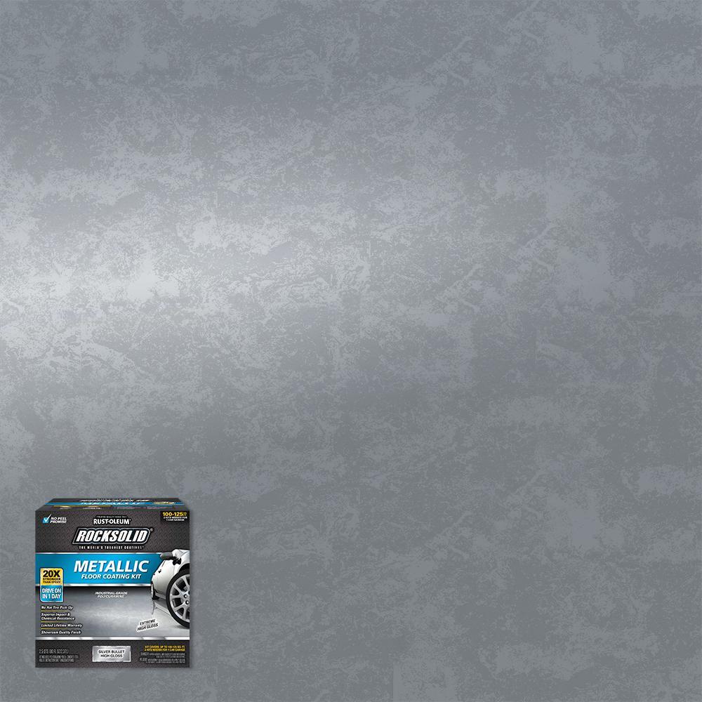 Rust-Oleum RockSolid 80-oz. Metallic Silver Bullet Garage Floor Kit