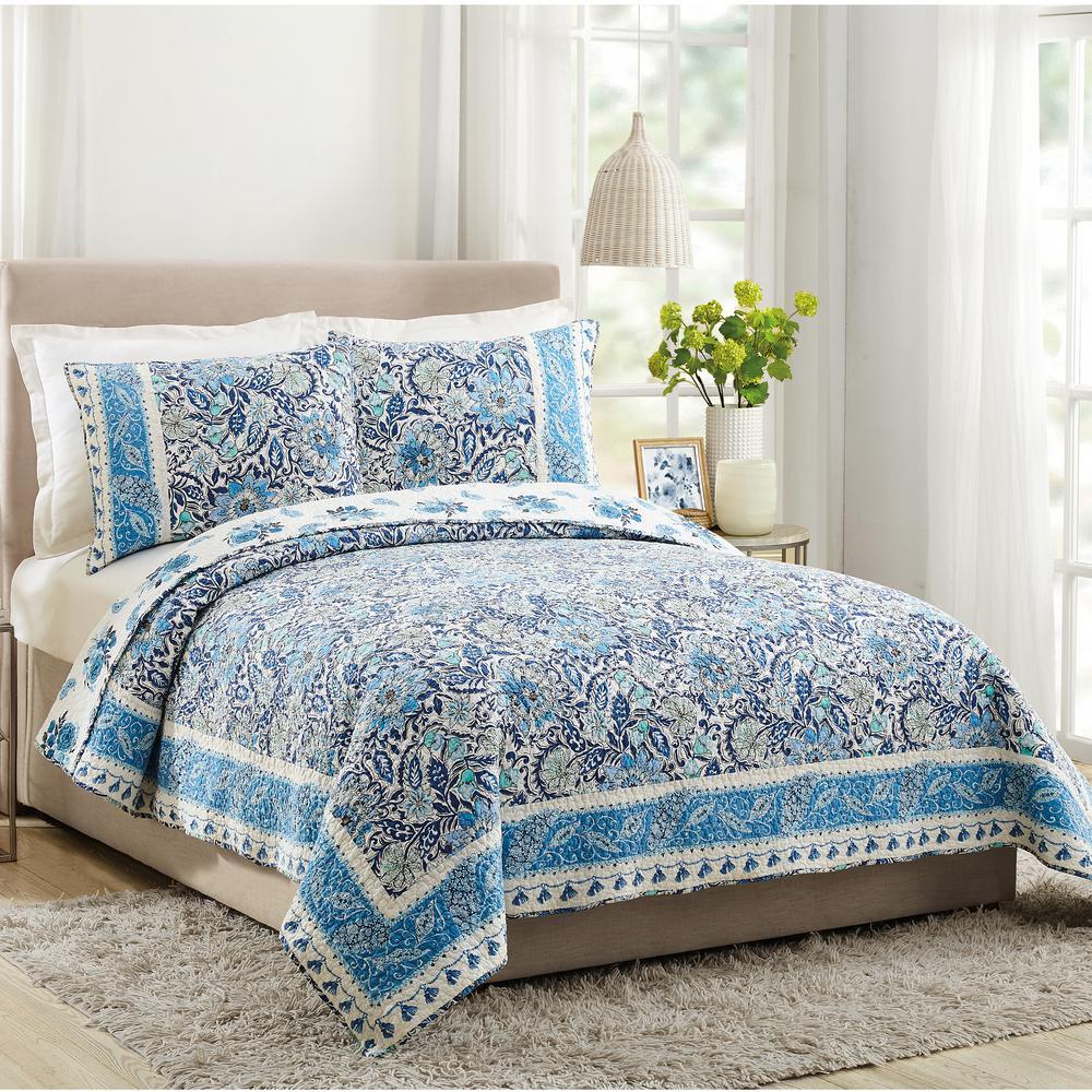 Bisou Blue Floral King Cotton Quilt (Set of 3)