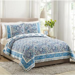 Bisou Blue Floral King Cotton Quilt (Set of 3)